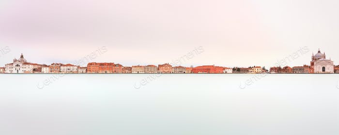 Venice, Giudecca Canal landmark. Panoramic Long exposure photogr