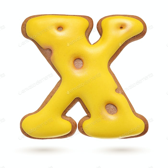 Capital letter X yellow gingerbread biscuit isolated on white.
