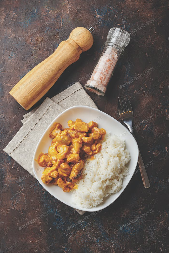 Curried Coconut Chicken with rise