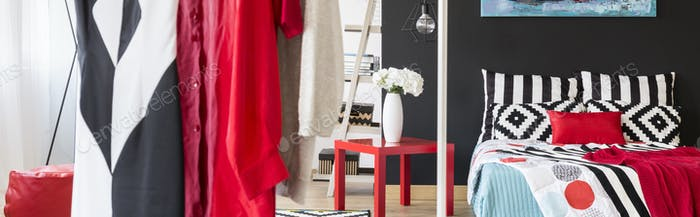 Black and white flat with red decorations
