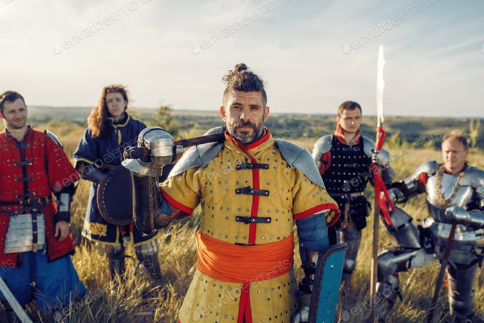 Medieval knights with swords poses in armor