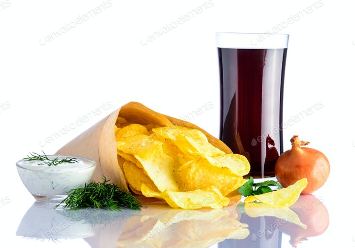 Glass Cola and Potato Chips