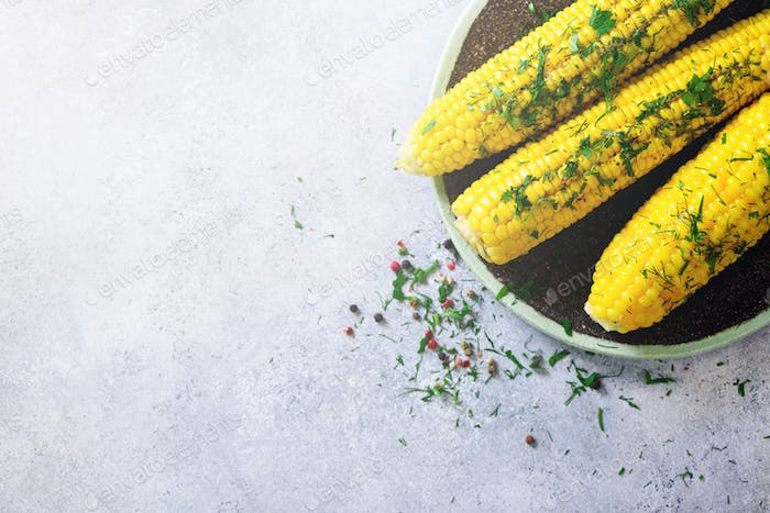 Boiled corn with spices on grey light concrete background. Copy space