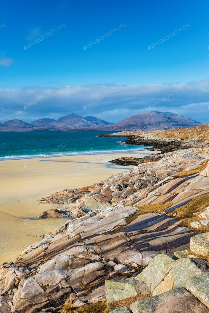 Blue skies over Traigh Rosamol beach