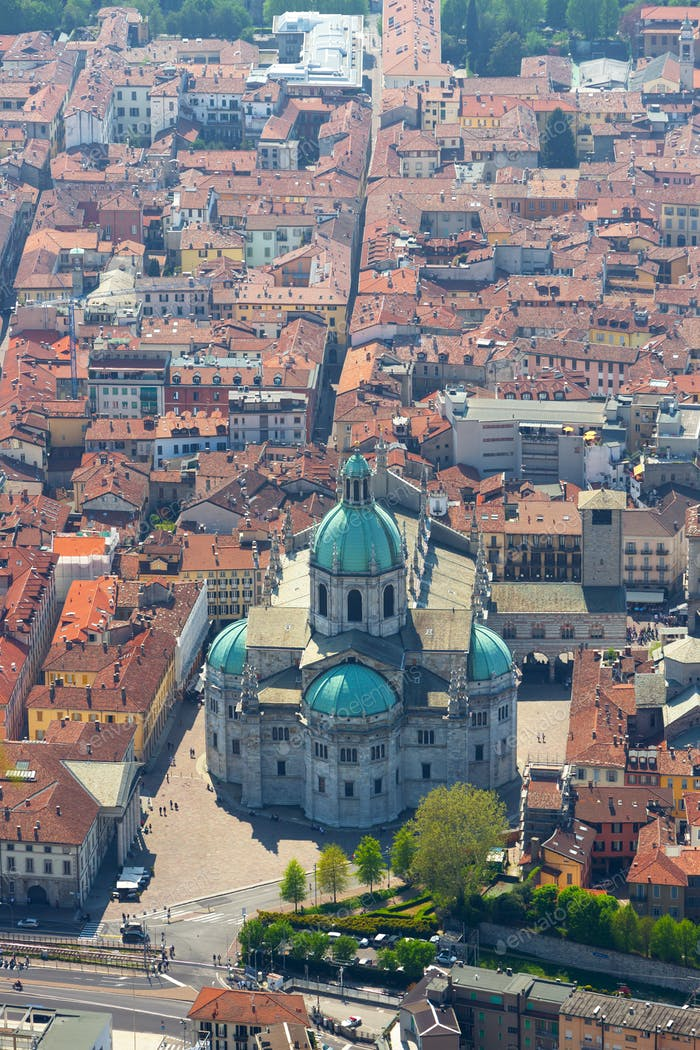 Aerial View of the Duomo of Como, Italy
