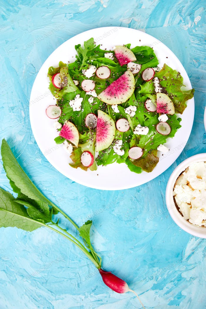 Fresh Watermelon Radish salad. Vegan, vegetarian, clean eating, dieting, food concept.