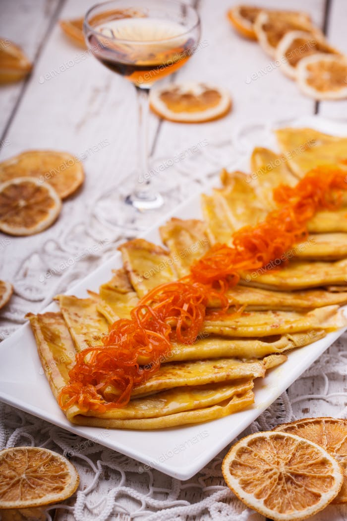Crepes suzette, french dessert