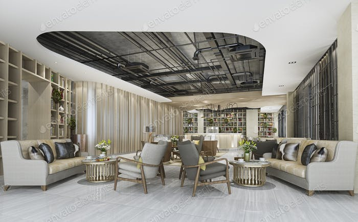 3d renering elegant lounge lobby area with counter and shelf