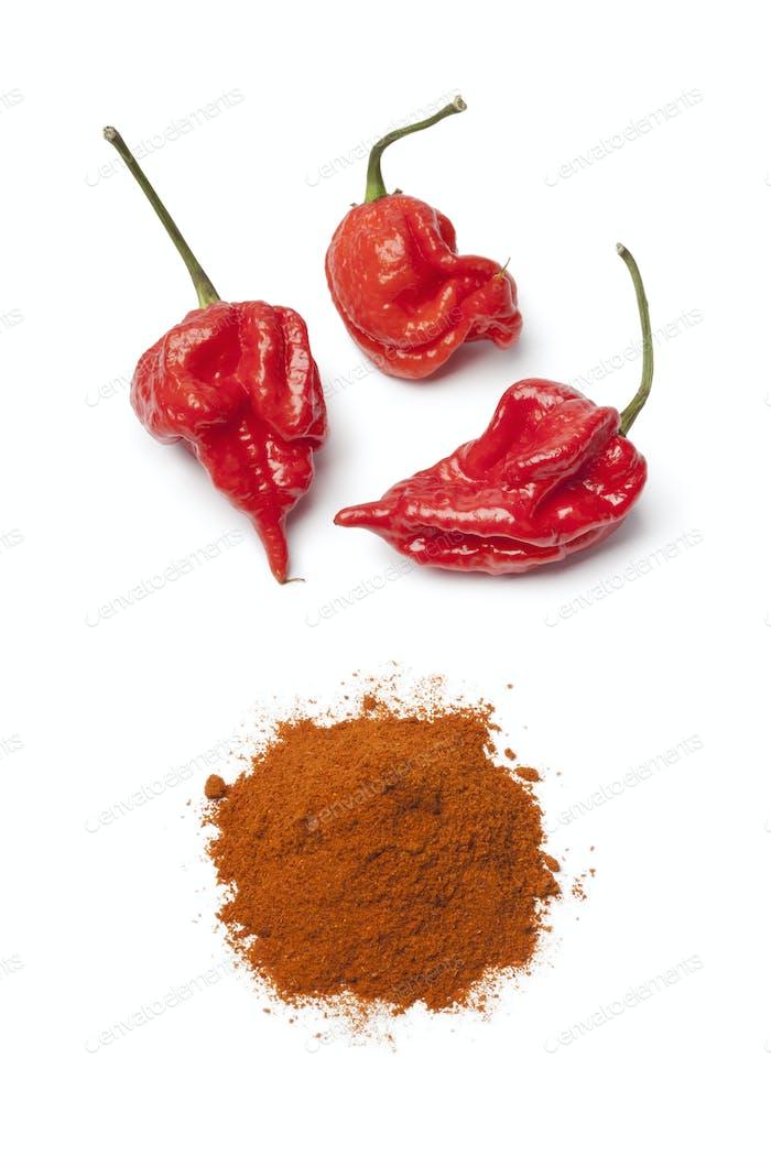 Fresh red scorpion chili peppers and chili powder