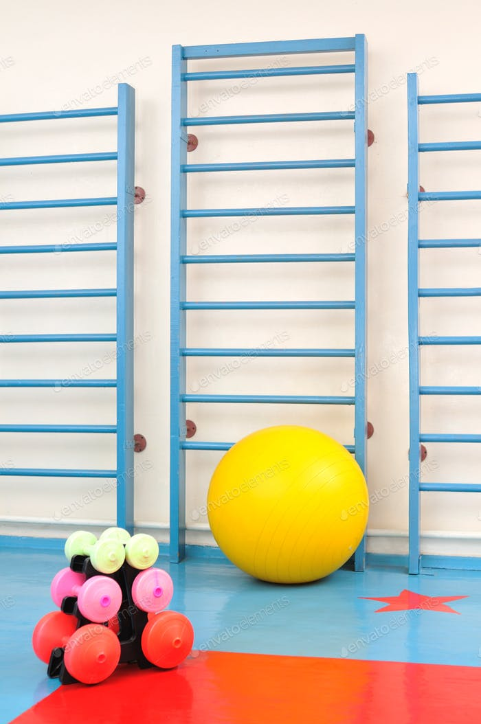 Photo of sports equipment, dumbbells and fitness balls