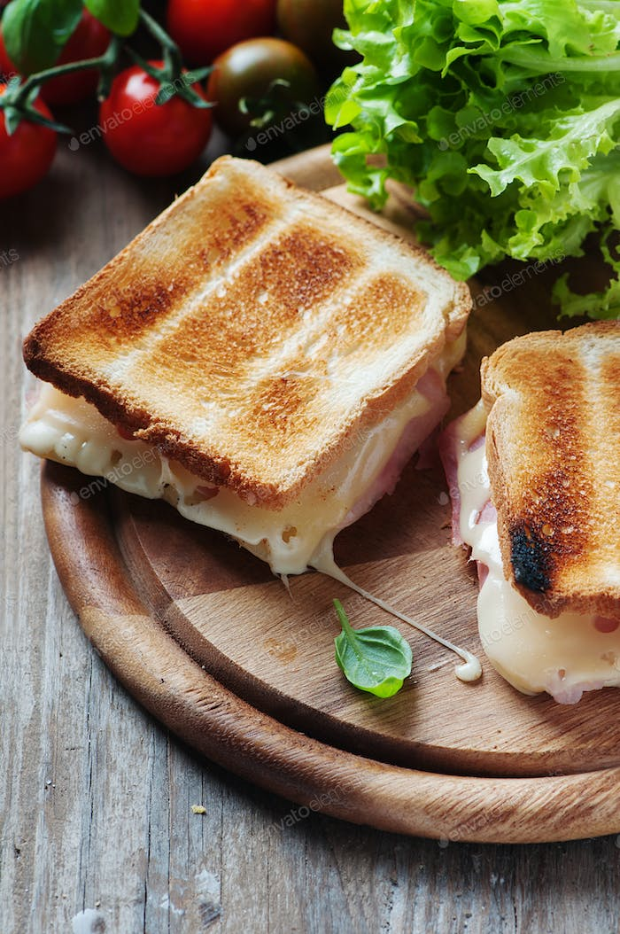 Toas with ham and cheese