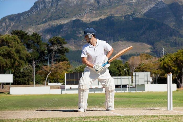 Batsman playing cricket on field against mountain