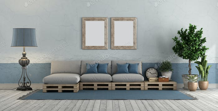 Blue and white vintage room with pallet sofa