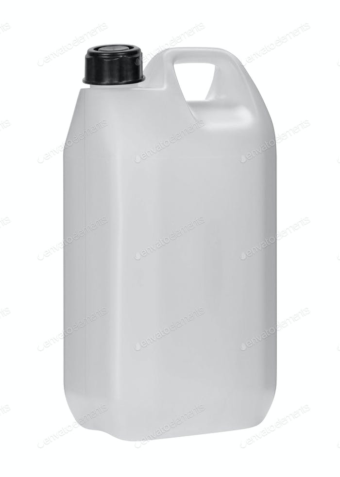 White plastic jerrycan on white background