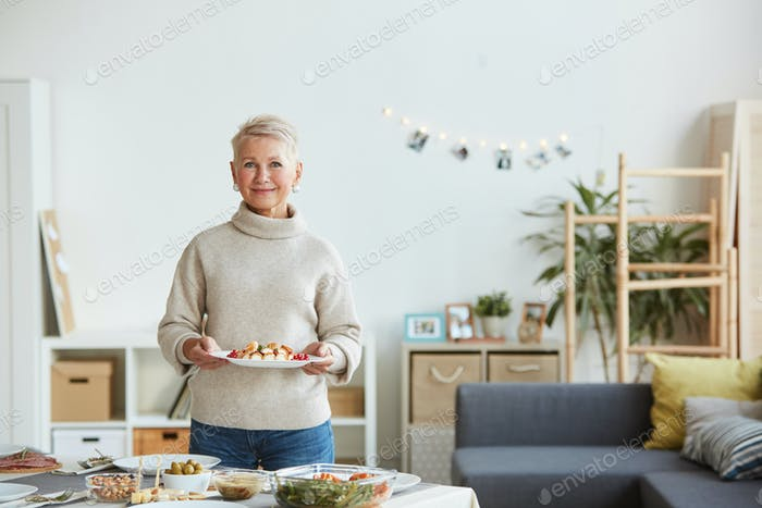 Woman setting the table