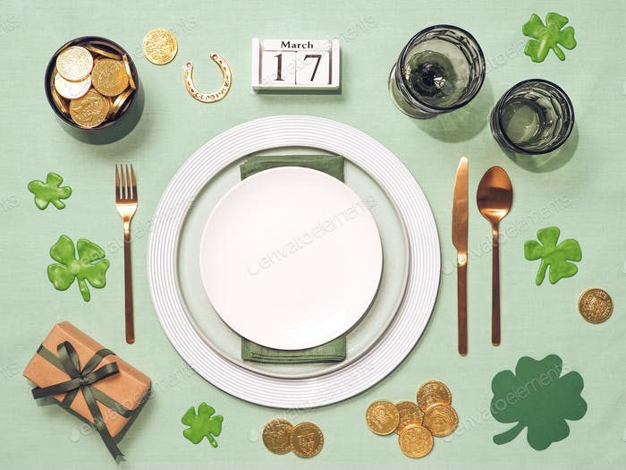 Saint Patricks Day table settings copy space flat lay