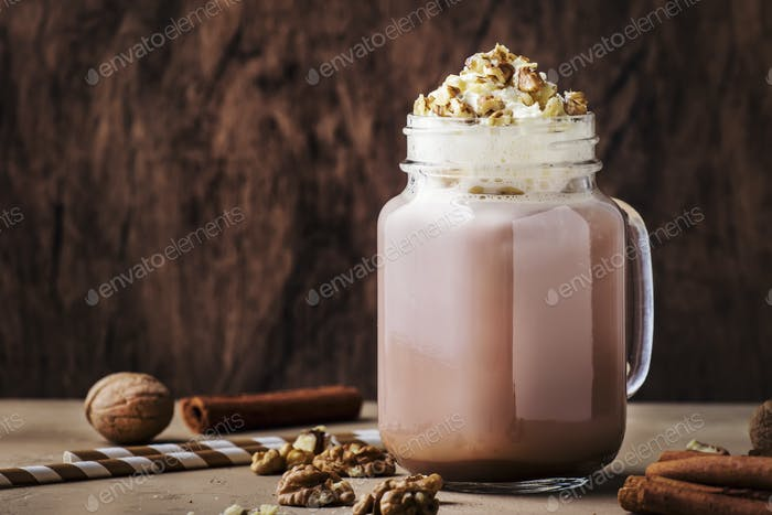 hot dark chocolate with whipped cream