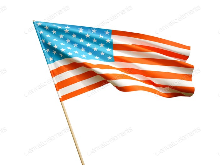 Waving USA flag on white background 3D illustration