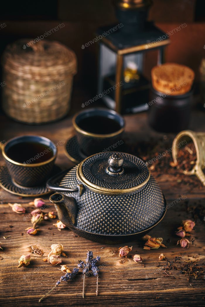 Still life of asian tea set