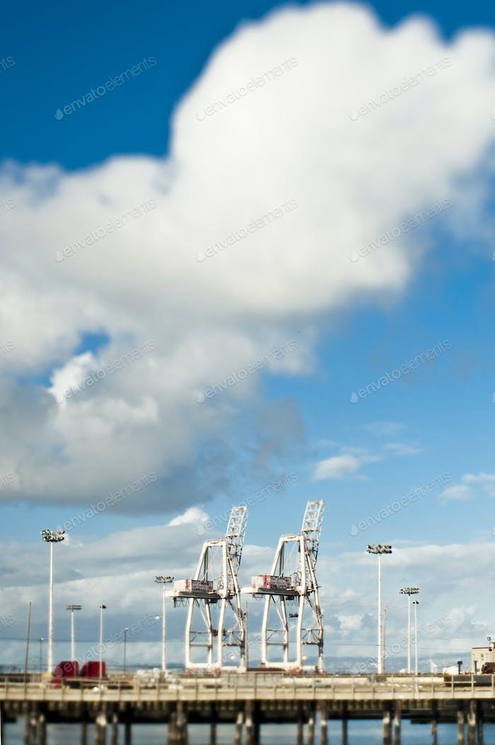 Haulage crane at harbour pier.
