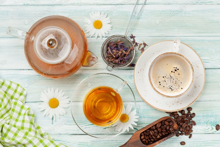 Various herbal tea and espresso coffee