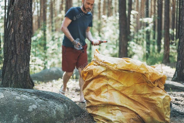 Adult man volunteer cleans forest of garbage in large bag