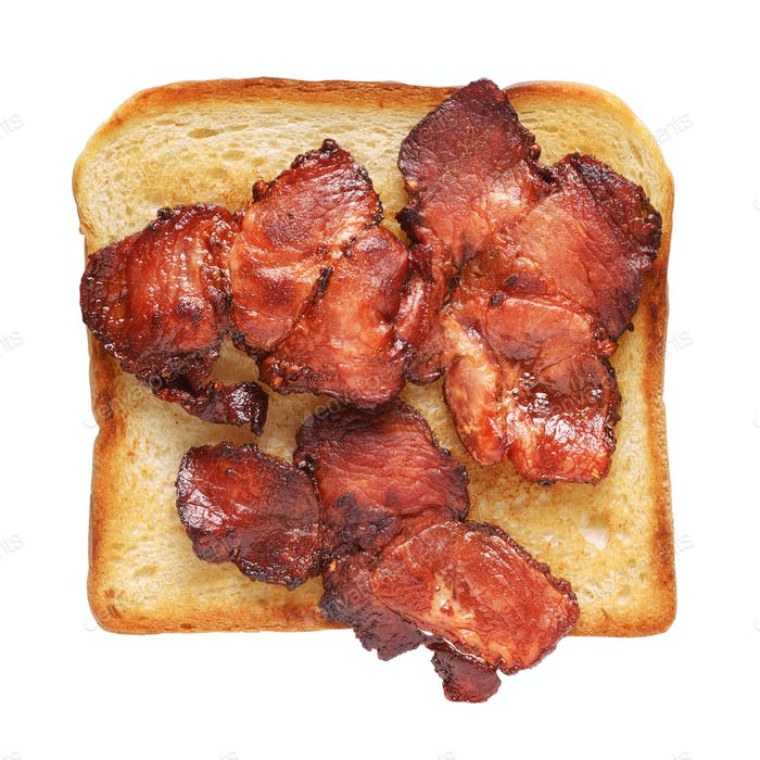 Toasted sandwich bread with bacon isolated