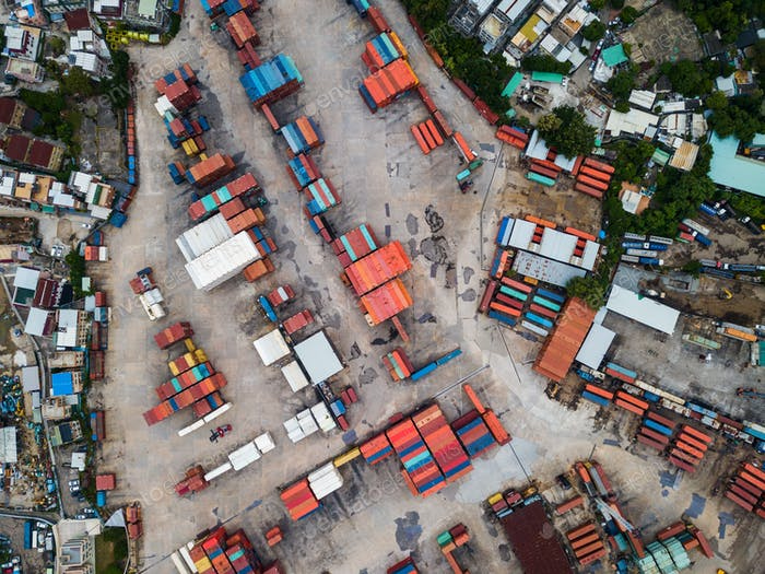Top view of storage of container