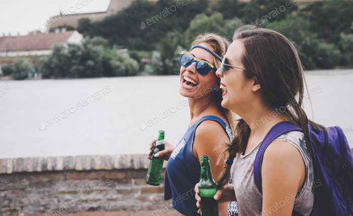 Party girls enjoying summer freedom