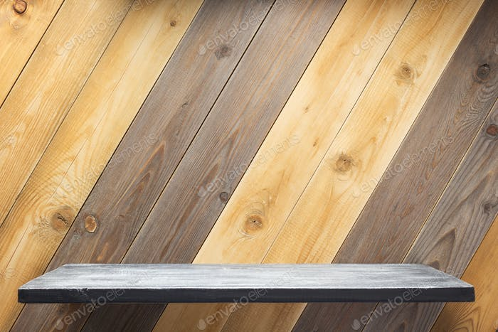shelf at wooden background texture