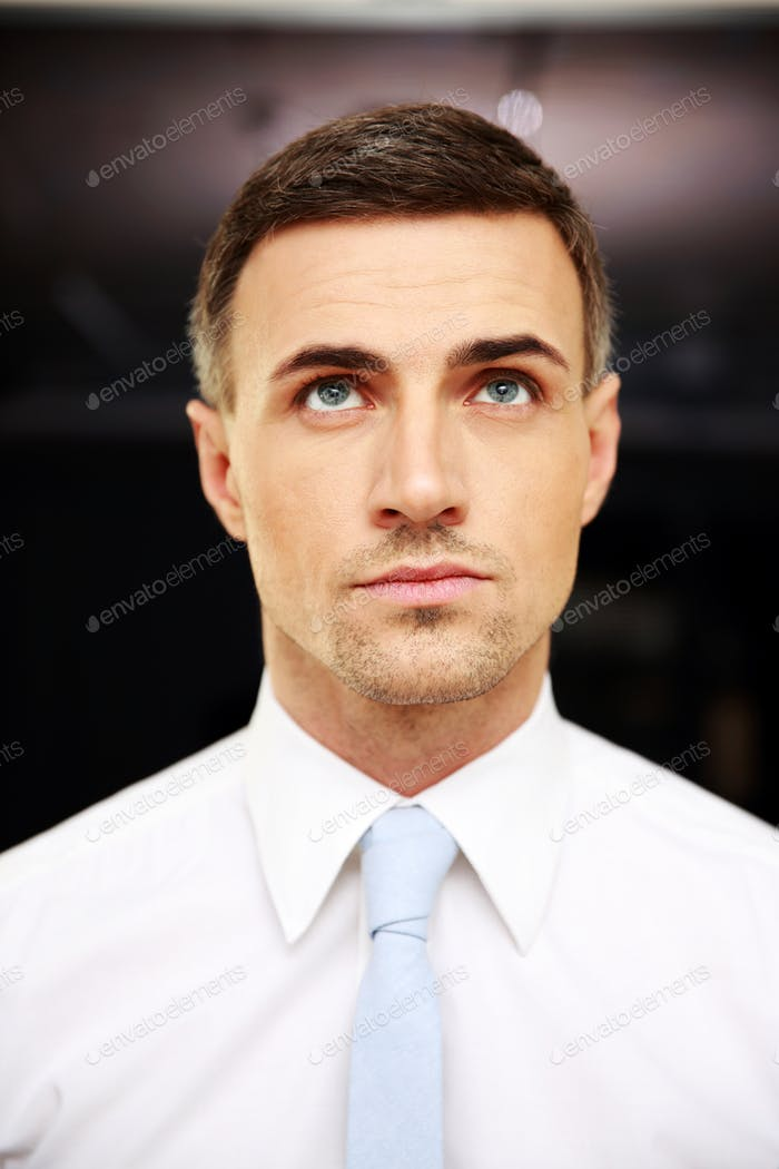 Portrait of a thoughtful businessman standing in office