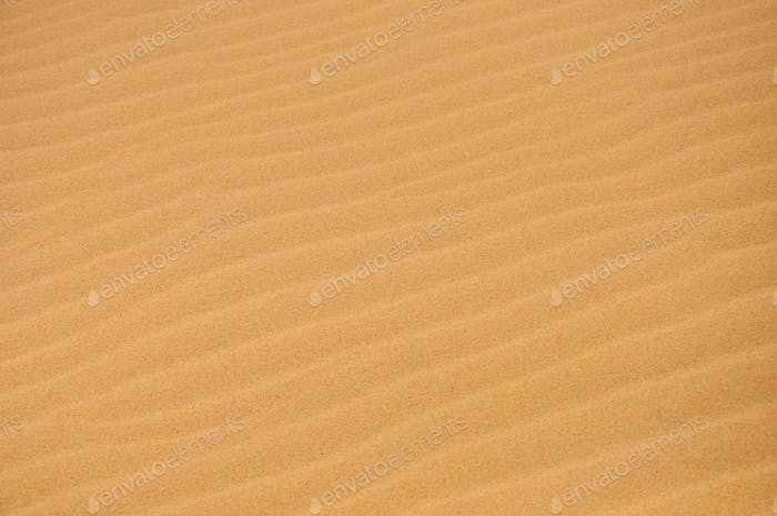 Sand dunes in the desert in a hot day