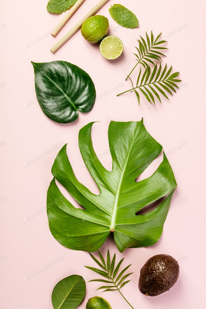 Tropical fruits and leaves