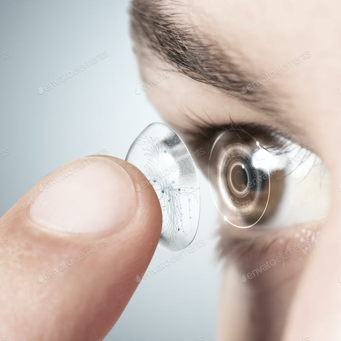 Eye with smart contact lens website background