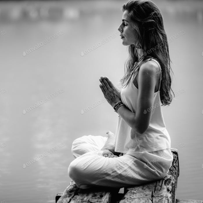 Mindfulness and Meditation. Yoga Woman. Hands in Prayer Position