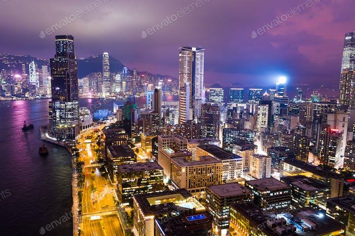 Tsim Sha Tsui, Hong Kong, 05. September 2018፦ Hong Kong Kowloon Halbinsel bei Nacht
