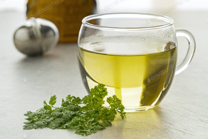 Cup of healthy chervil tea