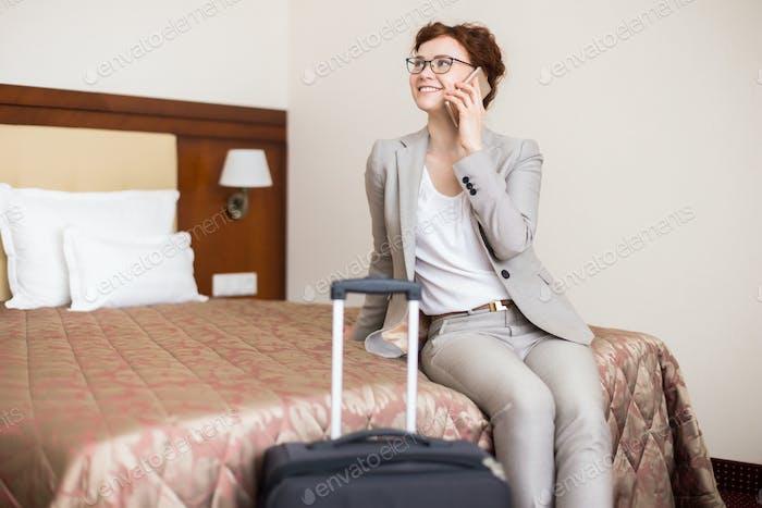 Businesswoman Arriving in Hotel