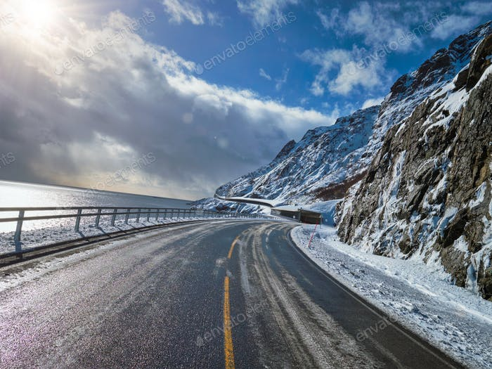 Road in Norway in winter