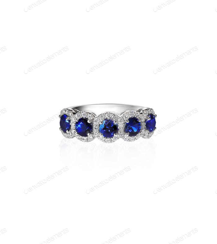 Blue Sapphire and diamond wedding anniversary bridal ring band