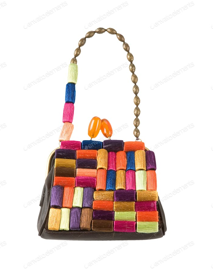 Colorful hanks of thread handbag