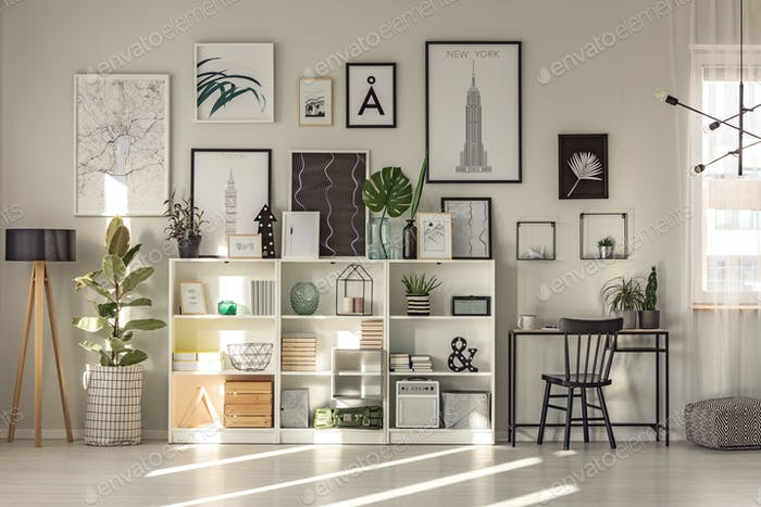 Spacious workspace interior with ficus