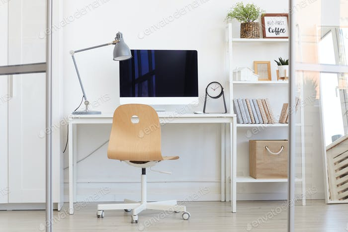 Office Workplace Interior in White