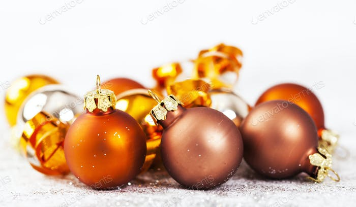 Closeup on golden Chrismas decorations