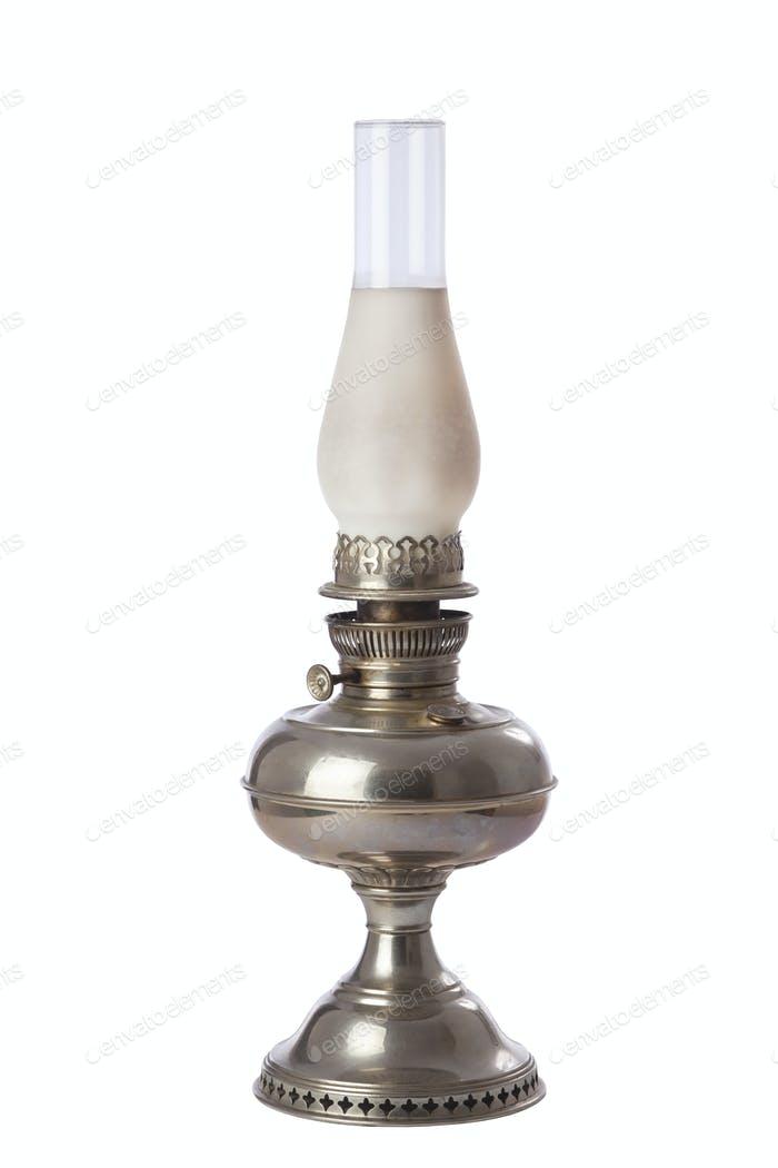 Antique Oil Lamp Isolated on White Background