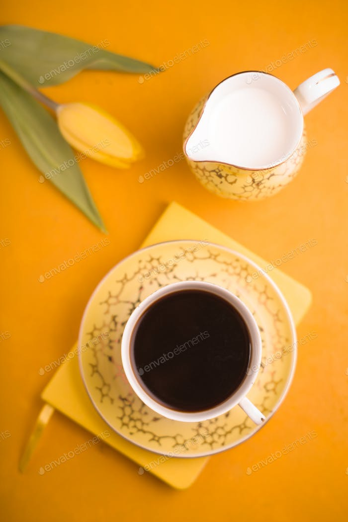 Cup of coffee and milk jug on the background