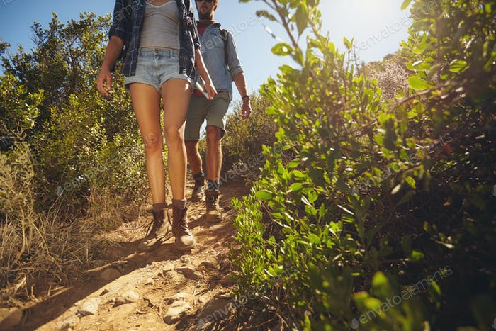 Hikers walking through country trail