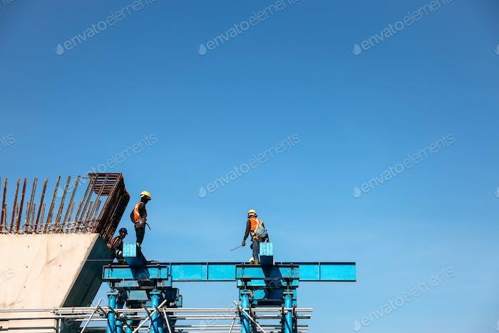 Worker on mega construction