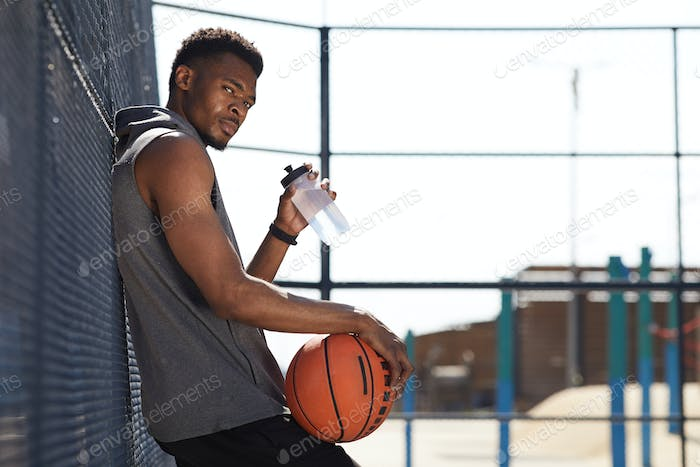 Basketball Player Drinking Water