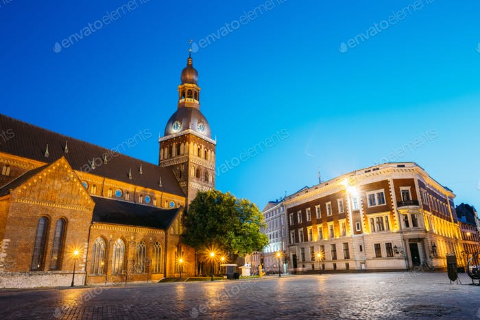 Riga Latvia. Dome Square, Dome Cathedral In Evening Illumination